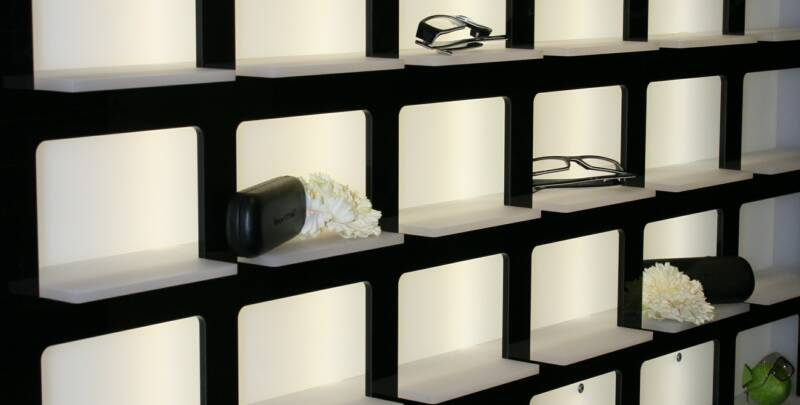 the new trend in retail display is the pidgeon hole system wall mounted shelf systems such as this wv36 shown can be illuminated from behind giving an